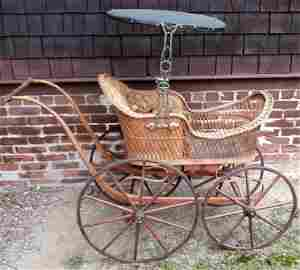 Victorian Wicker Pram with Original Paint