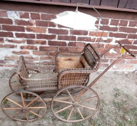 Victorian Child's Doll Pram Wicker With Umbrella