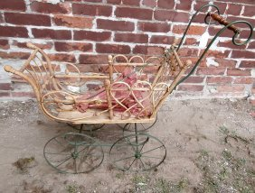 Victorian Doll Pram Stick And Ball With Umbrella