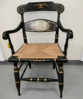 Us Capital Stenciled Hitchcock Signed Arm Chair