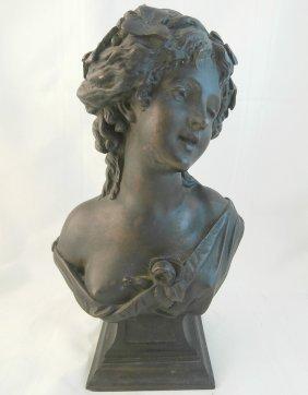Art Nouveau Lady Bronze Bust