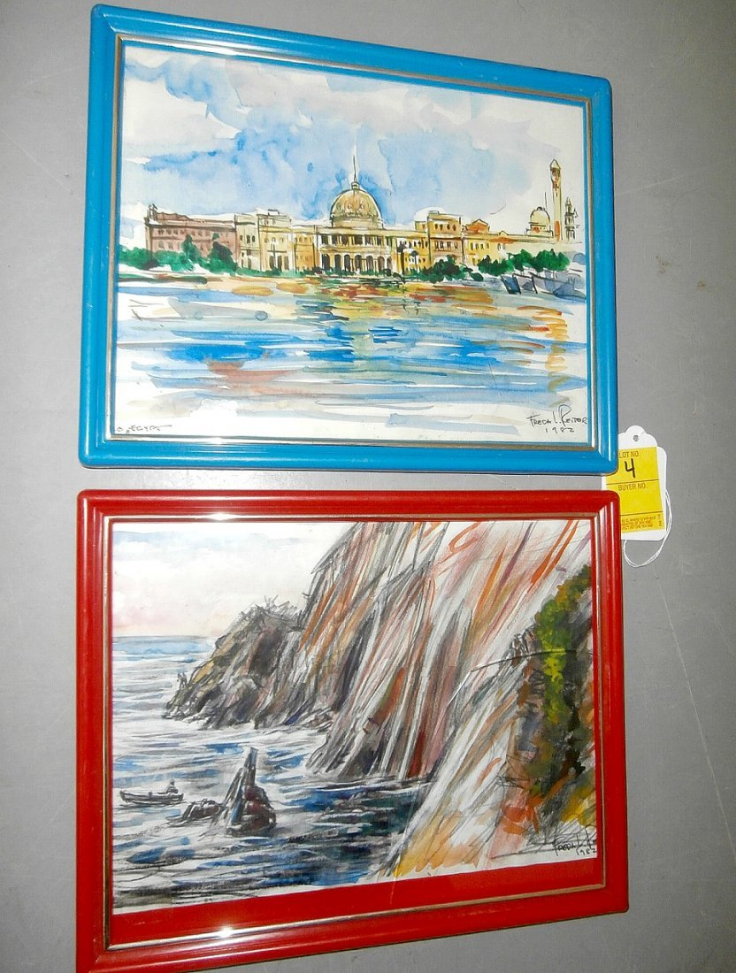 Freda L Reiter 2 pcs Watercolors on Paper 1982