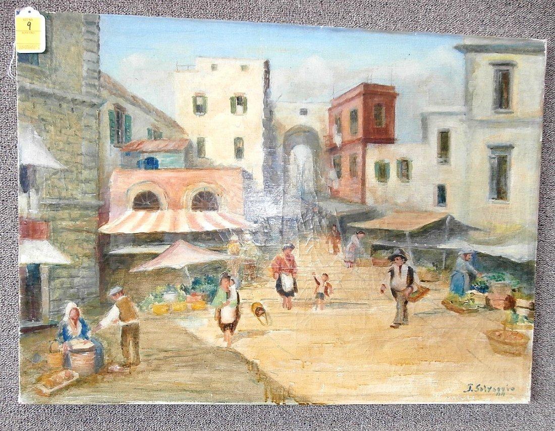 """Joseph Salvaggio """"The Market Place"""" Oil on Canvas"""