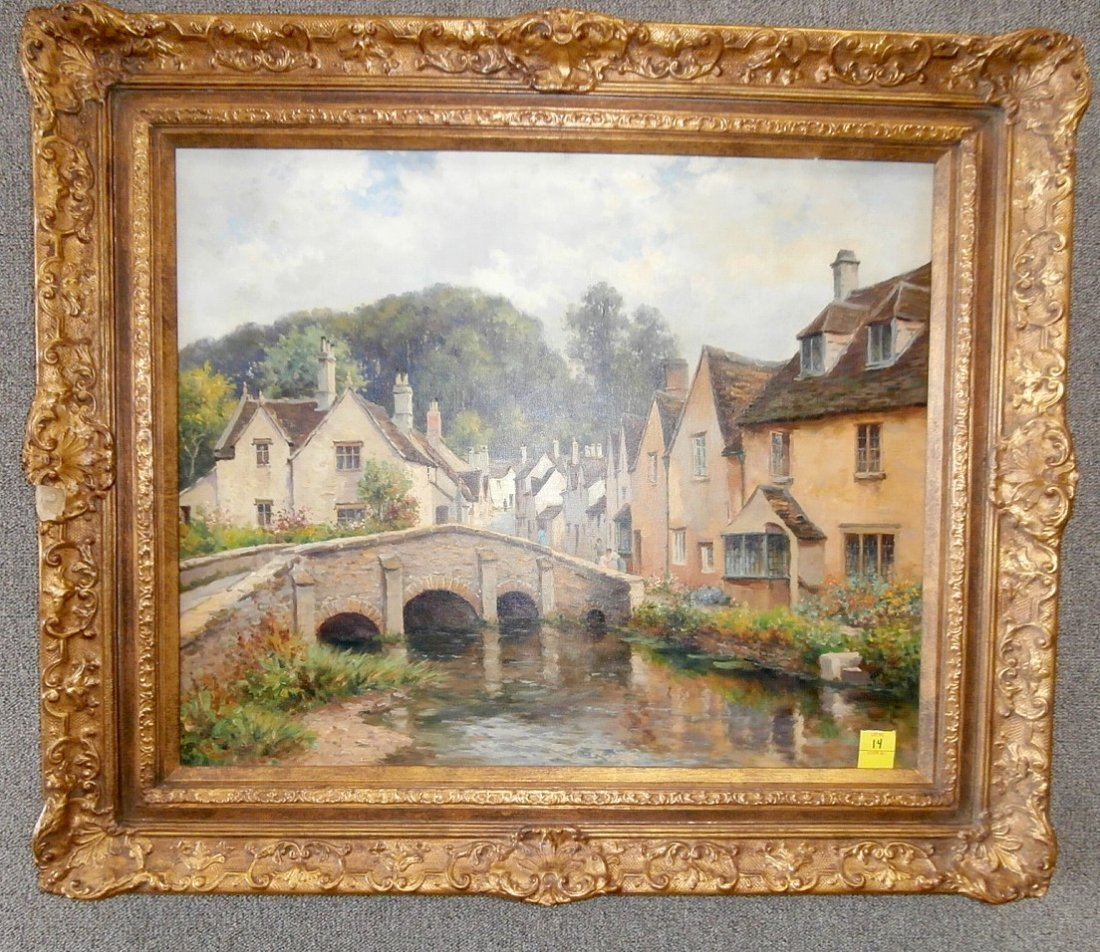Francis Gilbert Trott Oil on Canvas of a Village
