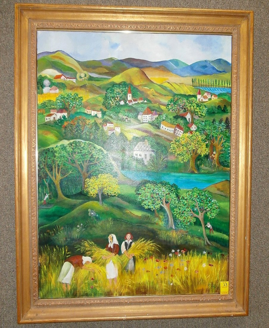 Eszter Gyory Folk Art Peaceful Village 1982
