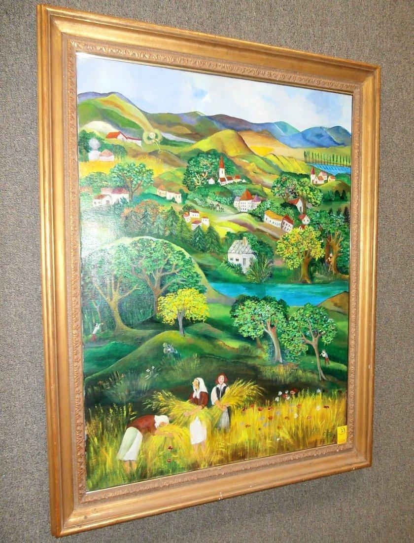 Eszter Gyory Folk Art Peaceful Village 1982 - 2
