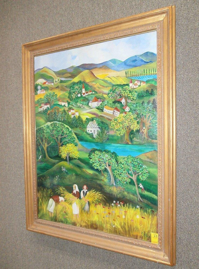 Eszter Gyory Folk Art Peaceful Village 1982 - 3