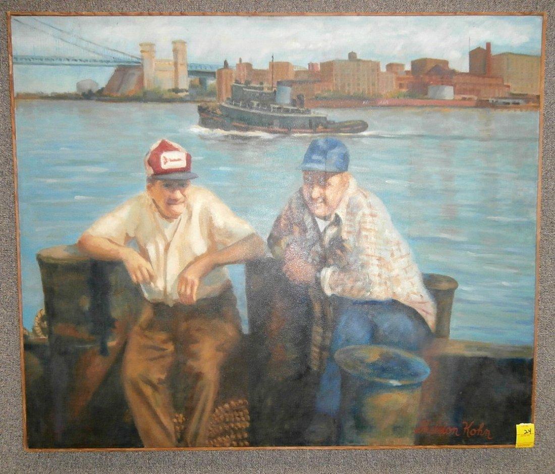 """Sheldon Kohn """"Penn's Landing"""" Oil on Canvas"""