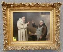 Robert Atkinson Fox Monk Pub Scene O/C Gold Frame