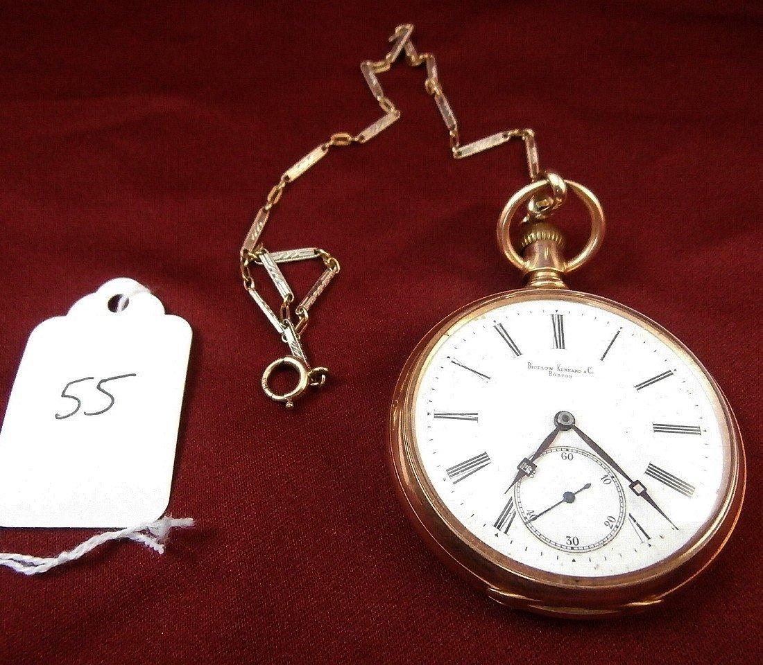 Bigelow Kennard Boston 14K Pocket Watch and Fob