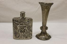 """Godinger silver plate Bacchus flask and 7 5/8"""" vase."""