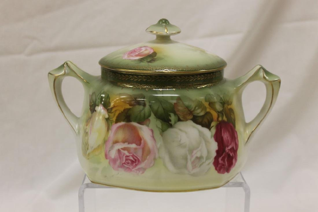 Red mark RS Prussia rose decorated biscuit jar with