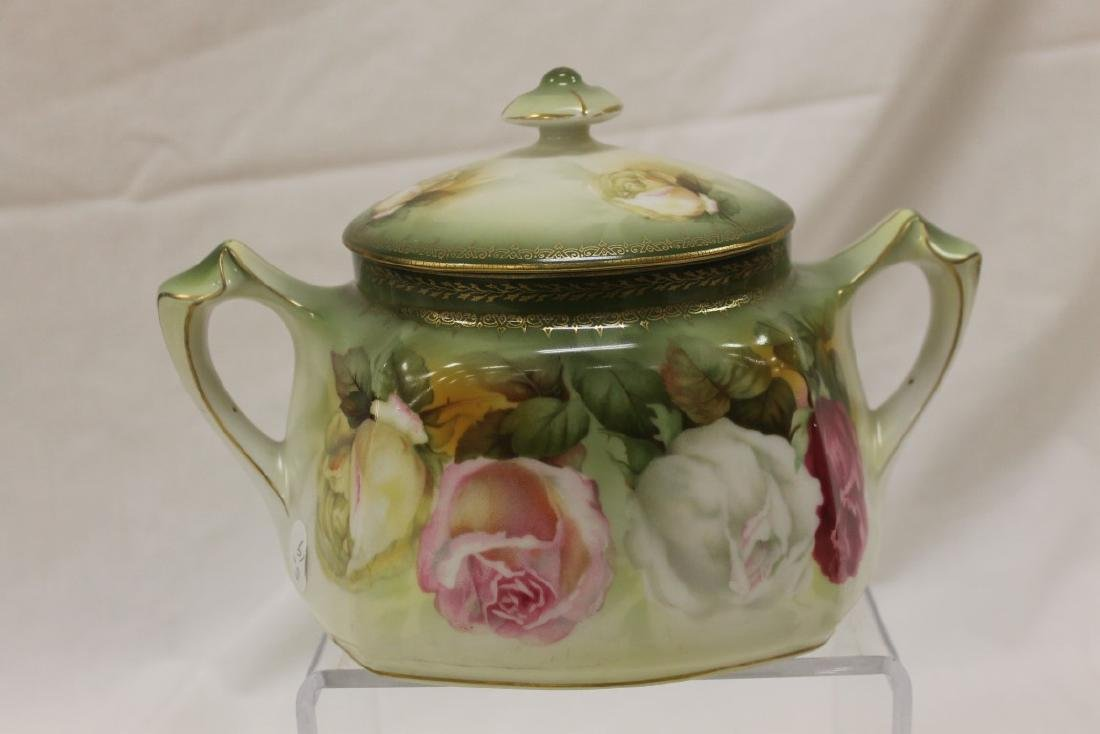 Red mark RS Prussia rose decorated biscuit jar with - 2