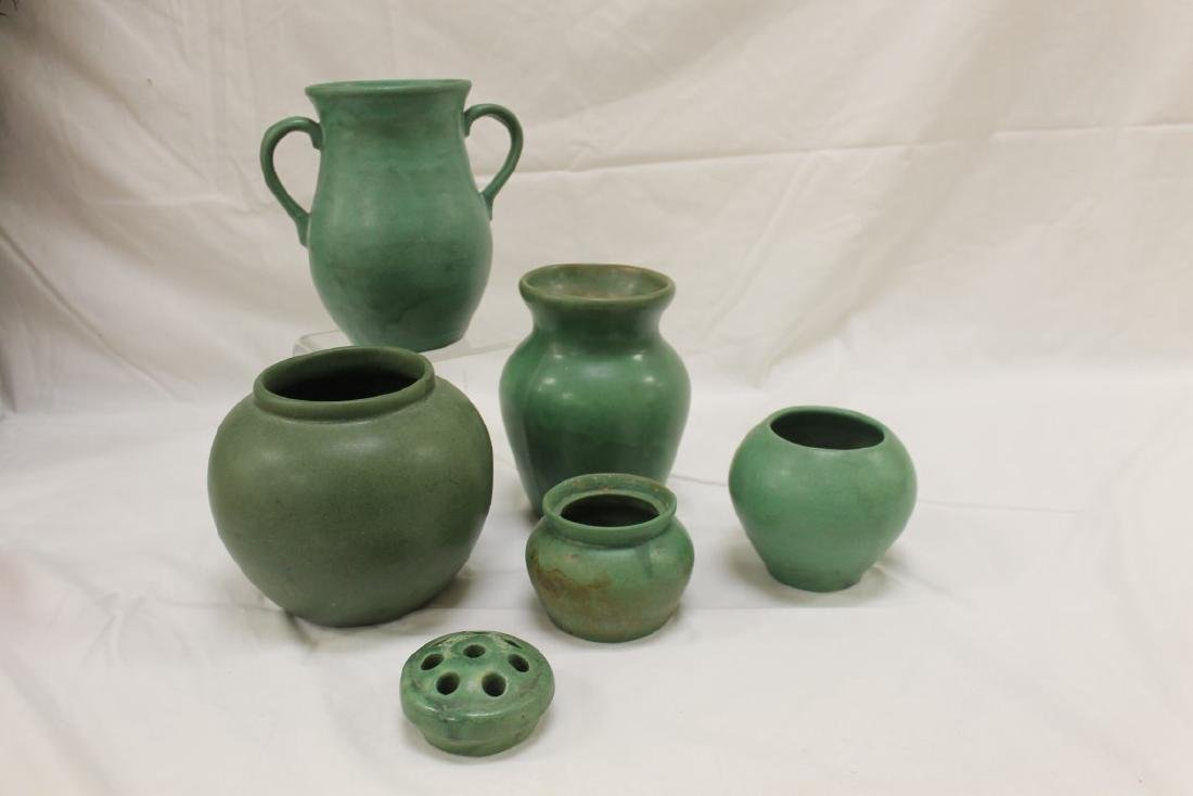 "Collection of matte green pottery:  5 1/2"" bulbous"