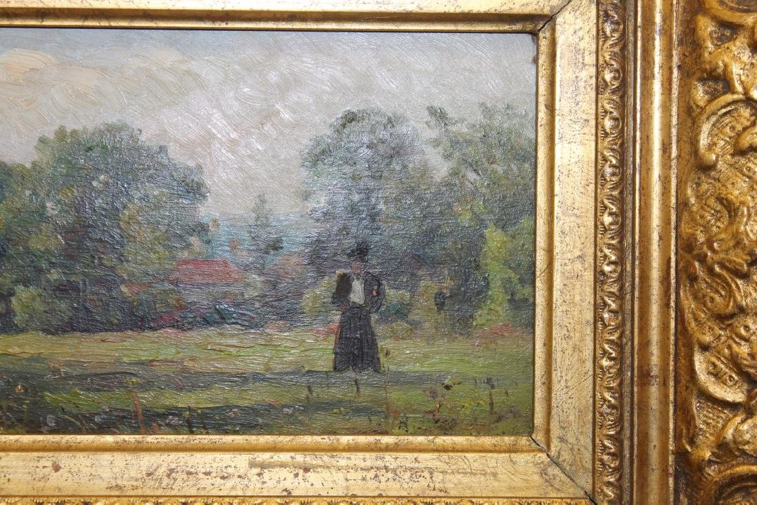 Oil-on-board painting of a lady standing in a field, - 3