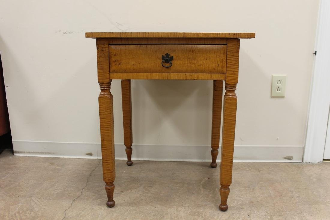 Tiger maple one drawer stand table with doveailed