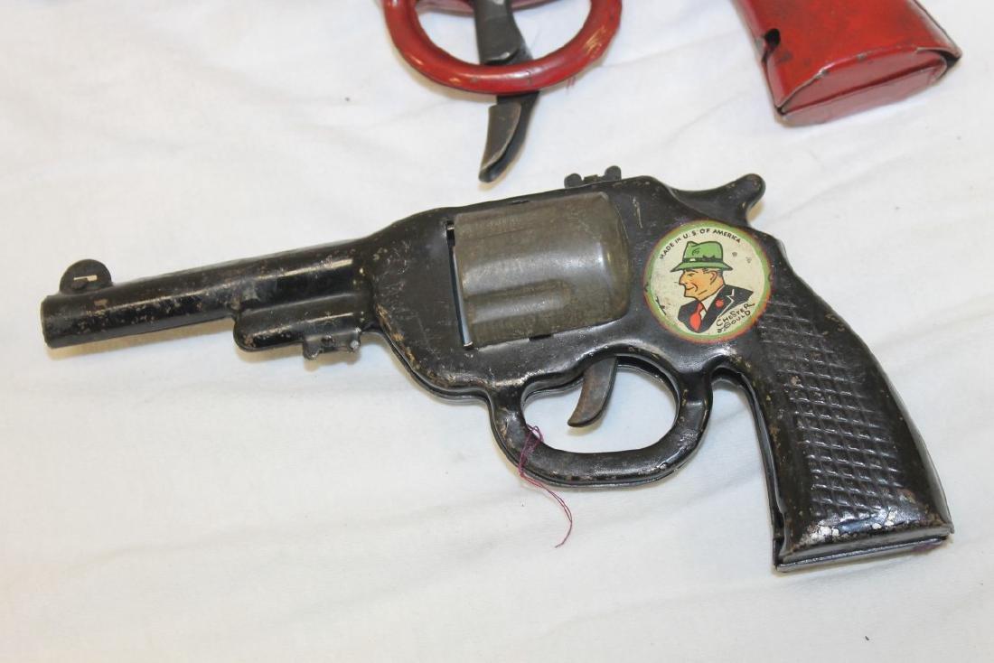 Dick Tracy Siren Pistol and pop gun.  Both painted - 3