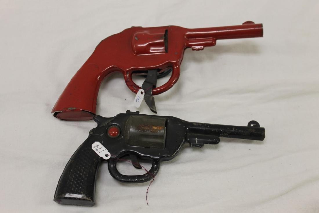Dick Tracy Siren Pistol and pop gun.  Both painted - 4