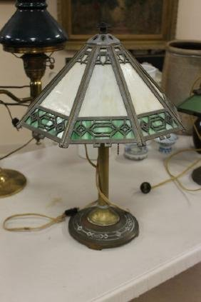 Bradley & Hubbard table lamp with leaded glass shade.