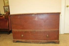 Painted pine blanket chest with single drawer and