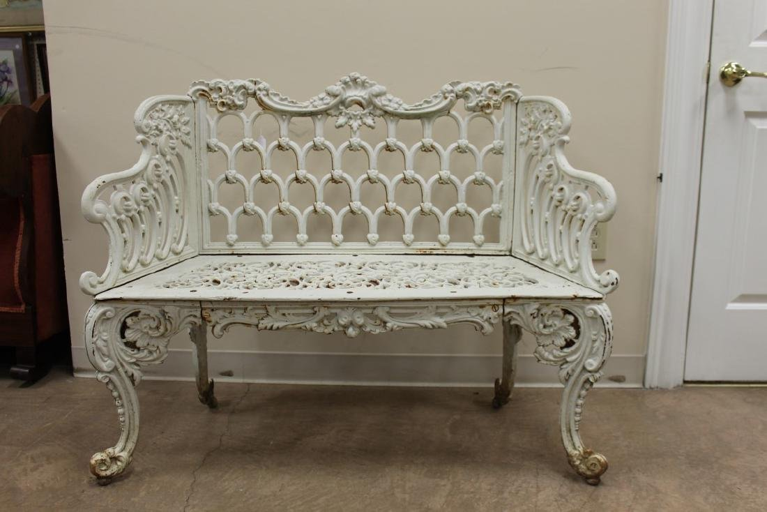"Cast iron Gothic Arch garden bench, 44 1/8"" wide, 20"""