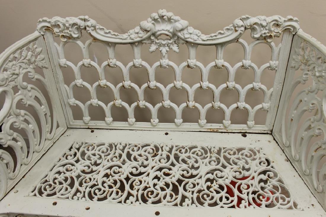 "Cast iron Gothic Arch garden bench, 44 1/8"" wide, 20"" - 3"