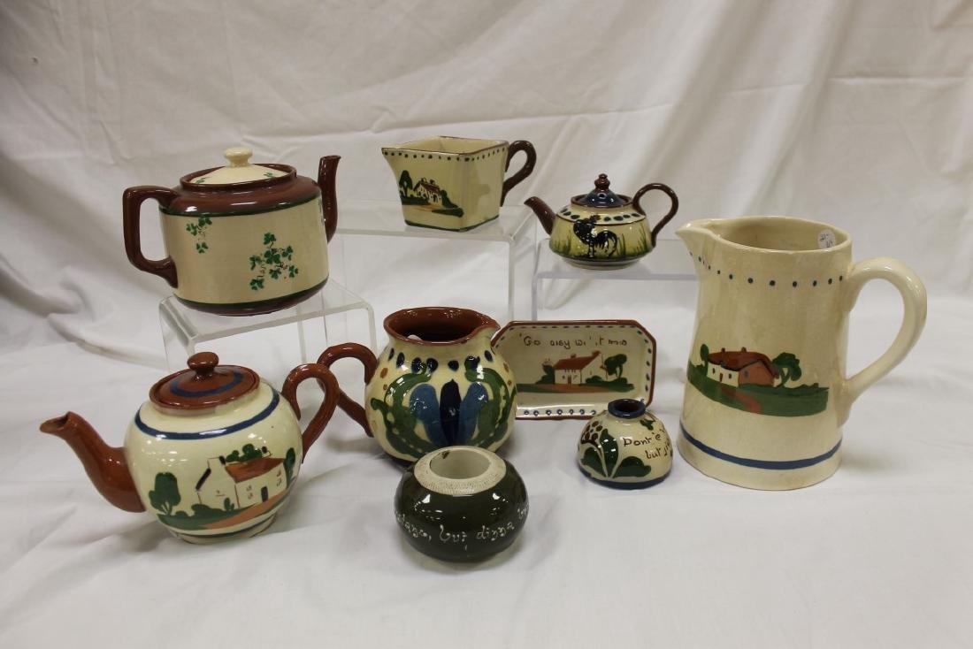"Mottoware collection:  teapot with broken handle ""A"