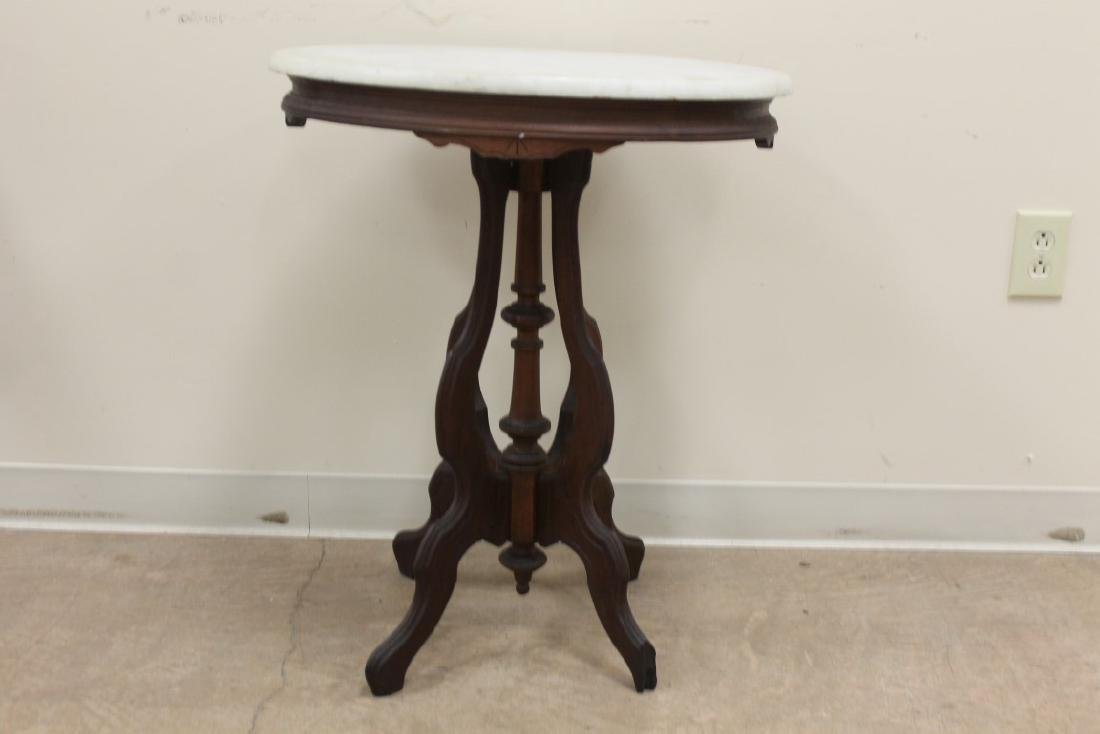 Victorian oval marble top stand parlor table, 28 1/8""