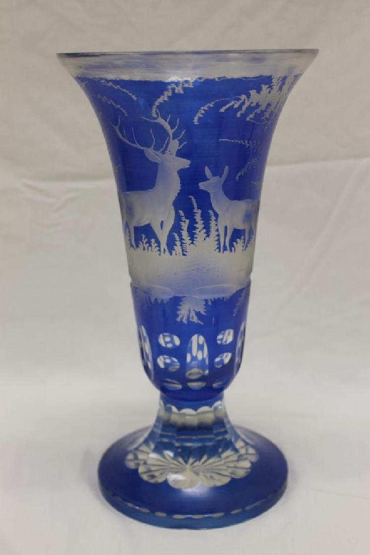 Fine blue Bohemian cut-to-clear trumpet vase with
