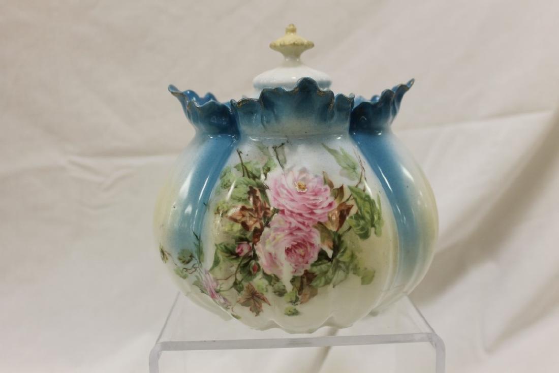 Royal Vienna melon ribbed rose decorated cracker jar