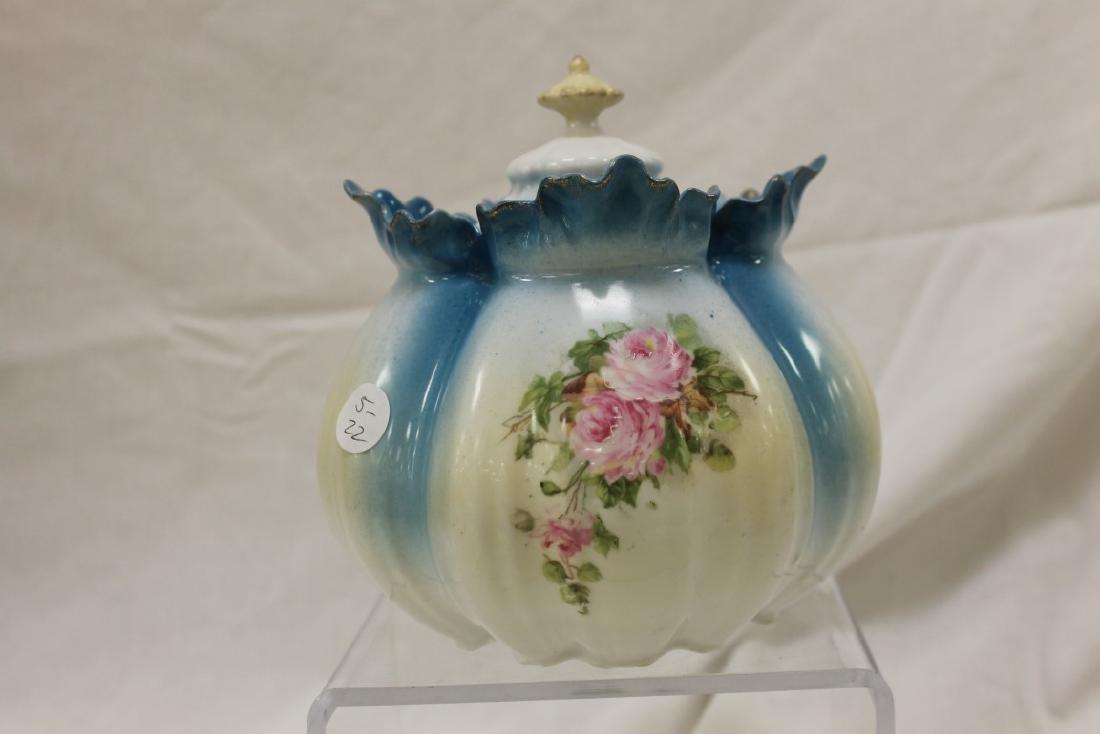 Royal Vienna melon ribbed rose decorated cracker jar - 2