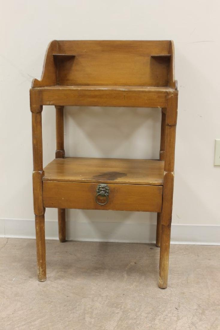 Simple one drawer maple finish wash stand with rear