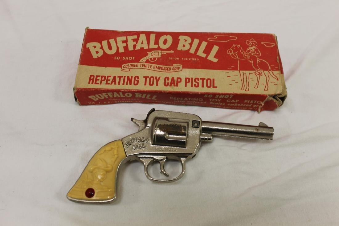 "Stevens ""Buffalo Bill"" cast iron cap gun, app. 7 3/4"","