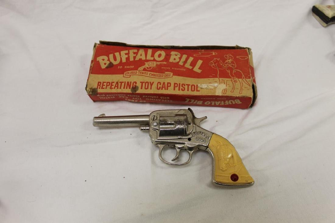 "Stevens ""Buffalo Bill"" cast iron cap gun, app. 7 3/4"", - 2"