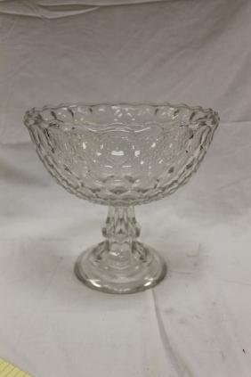 "Glass compote without lid, 10 1/2"" tall, 11 1/4"" wide"