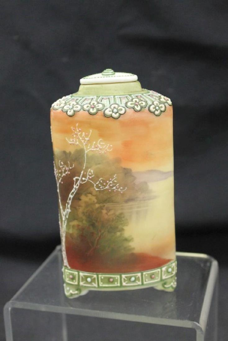 """Nippon Blue Maple Leaf 6"""" footed Galle` style tea caddy - 2"""