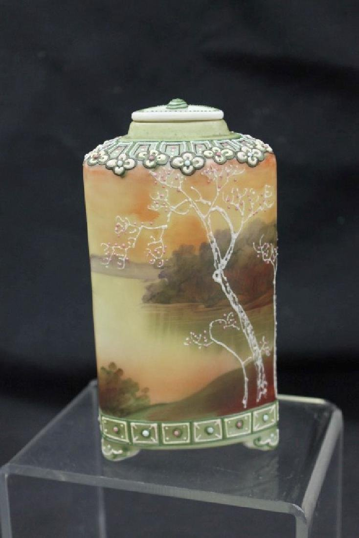 """Nippon Blue Maple Leaf 6"""" footed Galle` style tea caddy - 4"""