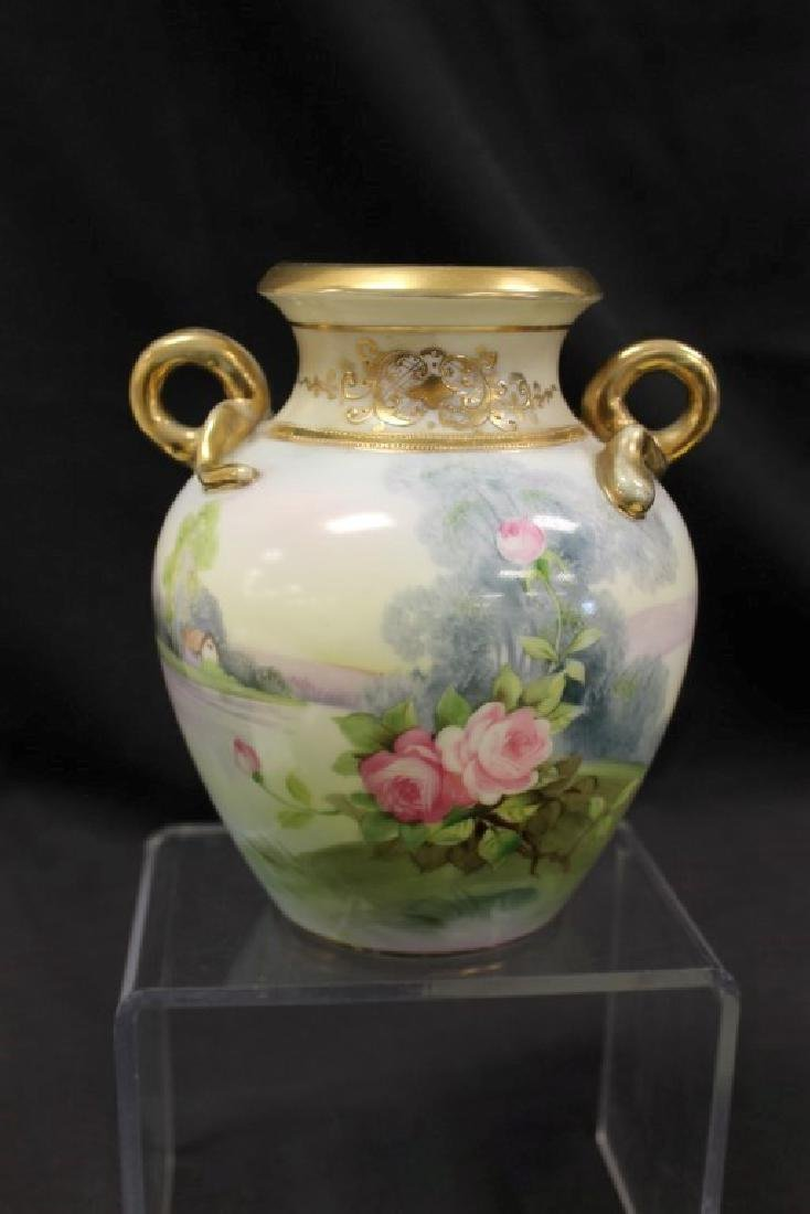 """Nippon Green M in wreath 6 3/4"""" rose decorated 2-handle"""