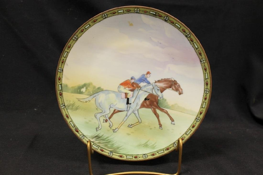 """Nippon Green M in wreath 8 7/8"""" round plaque with horse"""