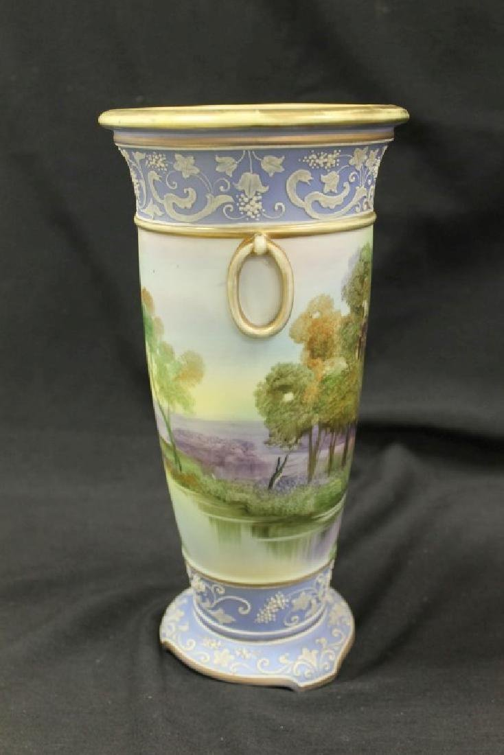 "Nippon Green M in wreath 11"" ring handle vase with blue - 4"