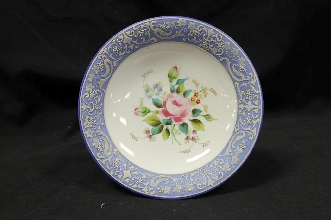"""Nippon Green M in wreath 4 3/4"""" tall compote with blue - 2"""