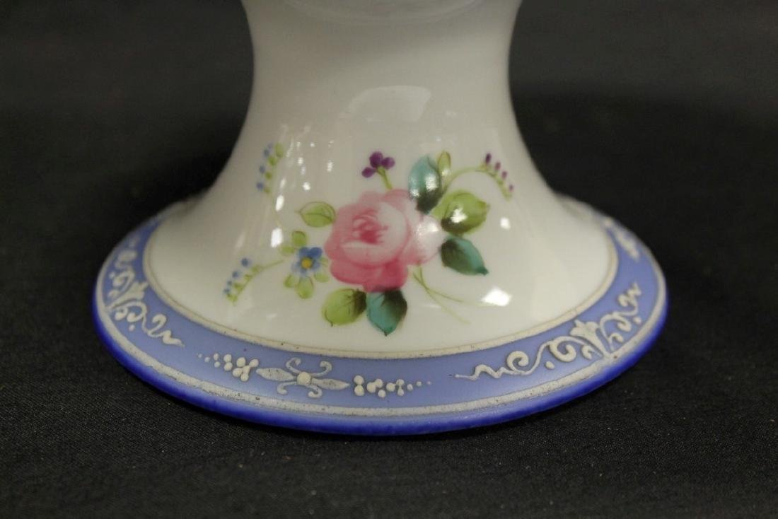 """Nippon Green M in wreath 4 3/4"""" tall compote with blue - 3"""