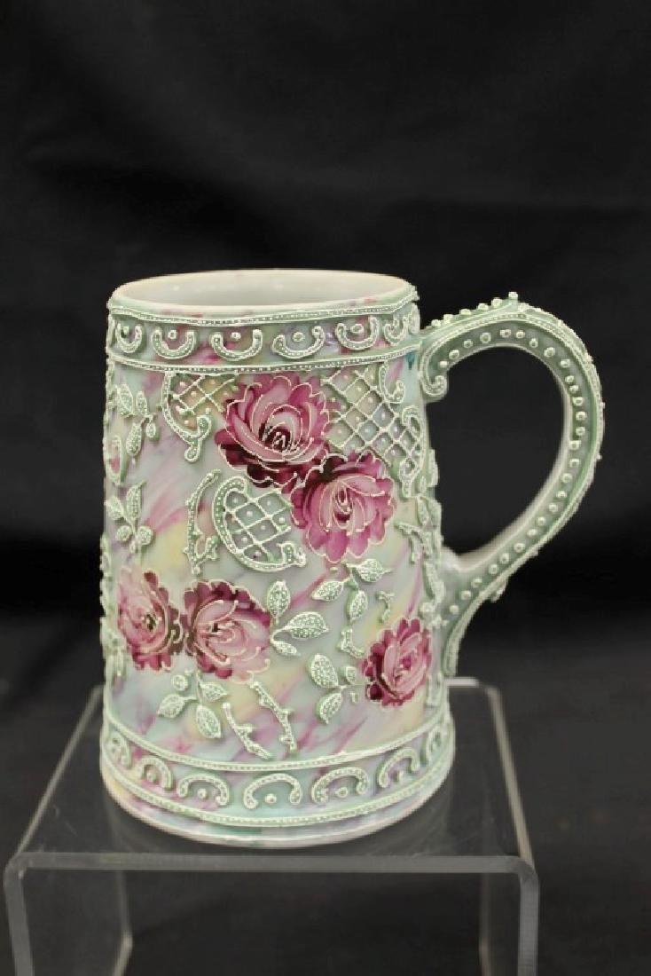 "Unmarked Nippon 5 1/2"" tall mug in moriage rose"