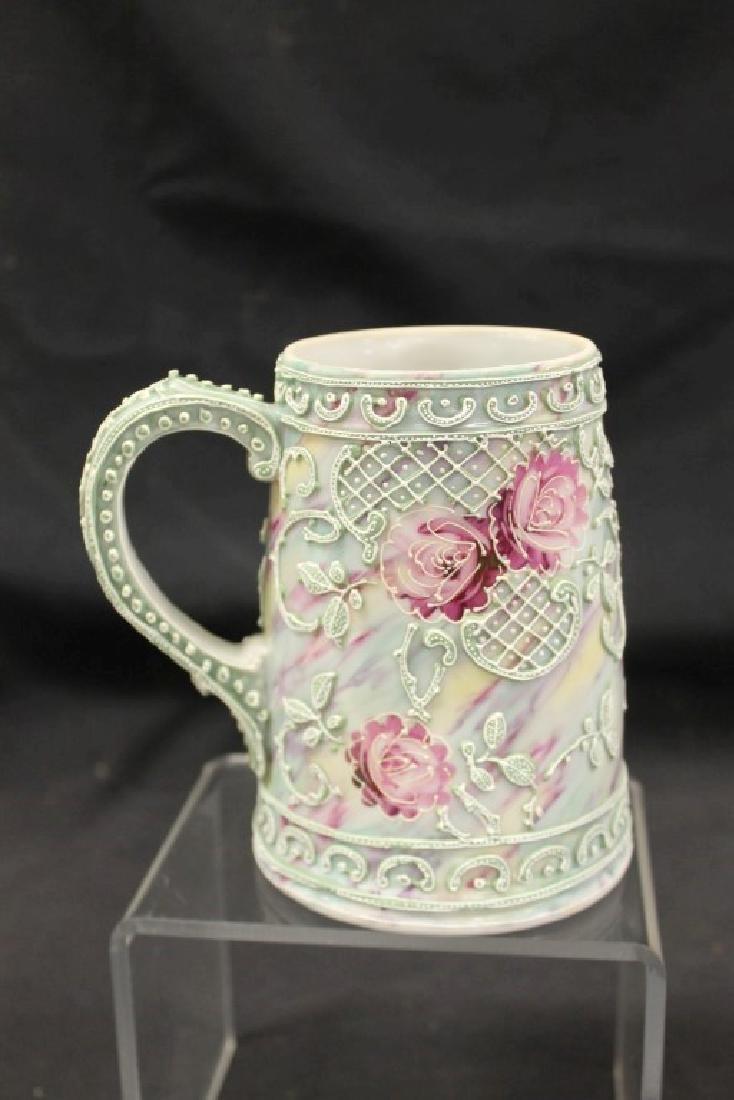 "Unmarked Nippon 5 1/2"" tall mug in moriage rose - 3"