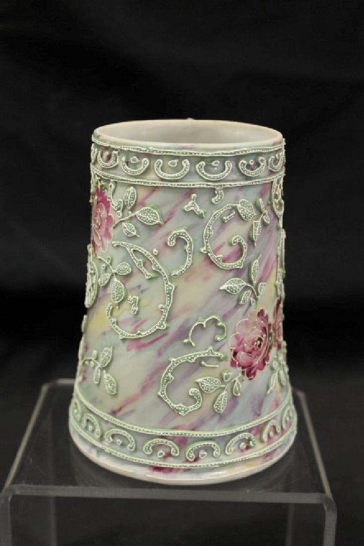 "Unmarked Nippon 5 1/2"" tall mug in moriage rose - 4"
