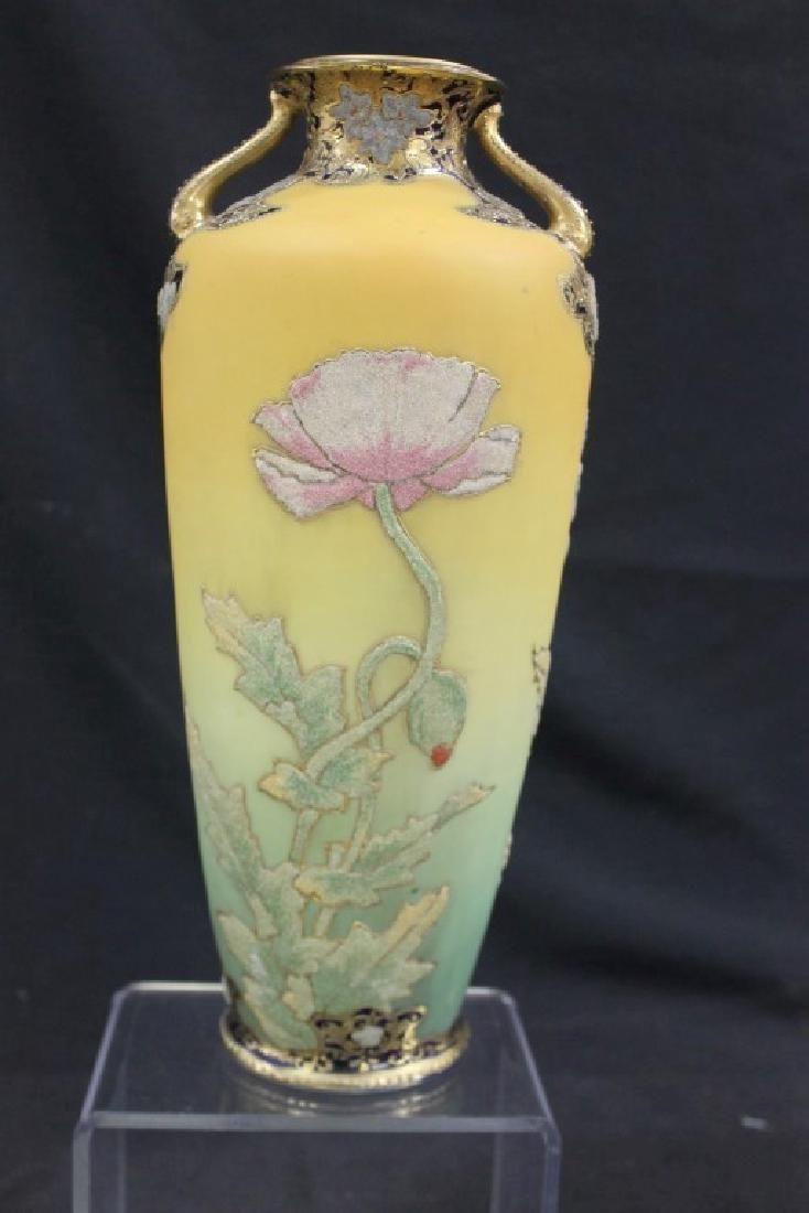 "Nippon coralene Poppy 12 1/2"" vase with multi-colored - 3"