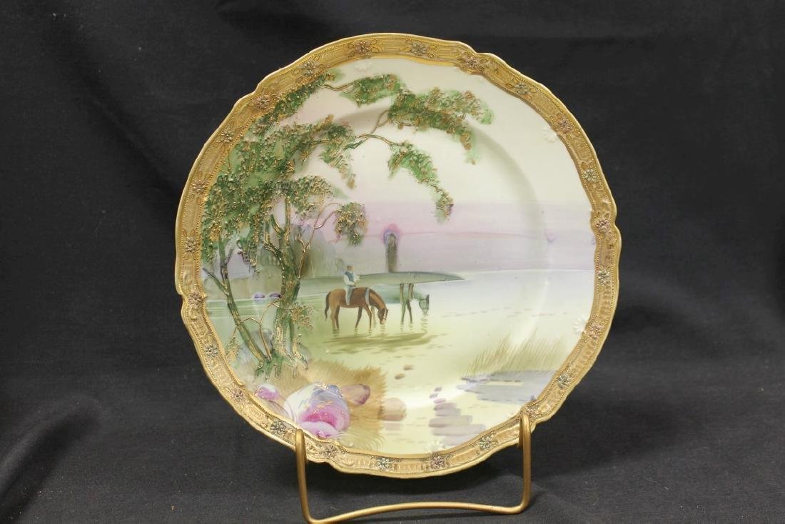 Nippon Green M in wreath plate with heavy raised gold
