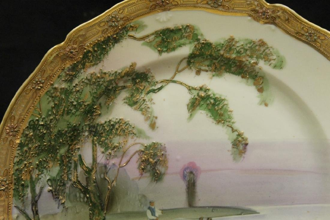 Nippon Green M in wreath plate with heavy raised gold - 2
