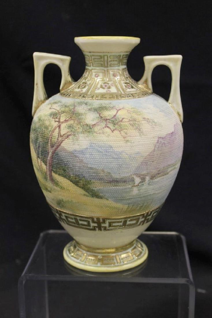 "Unmarked Nippon landscape tapestry 8"" 2-handle vase"