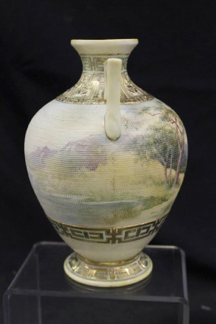"Unmarked Nippon landscape tapestry 8"" 2-handle vase - 4"